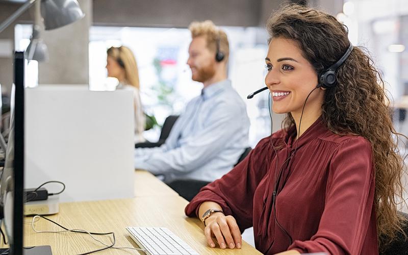 Happy female customer service rep